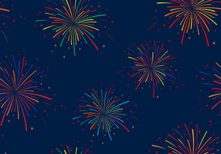 Vector illustration of fireworks on blue background. Seamless pattern.