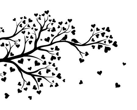 arbol pájaros: Ilustración del vector de la rama de árbol abstracta de San Valentín con corazones de color negro.