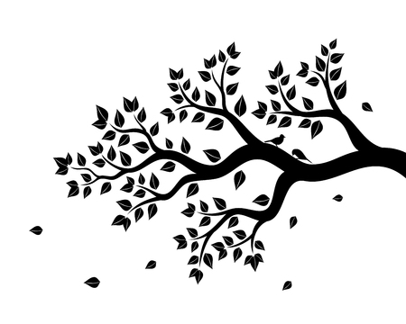 Vector illustration of tree branch with leaves in black color on white background Illustration