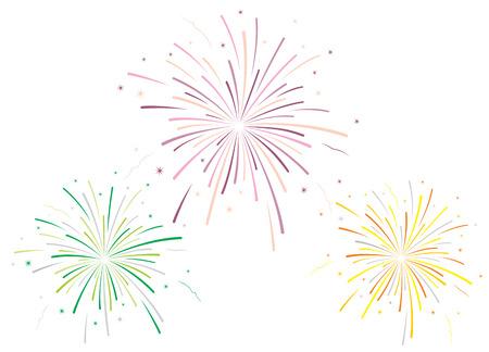 Vector illustration of fireworks on white background