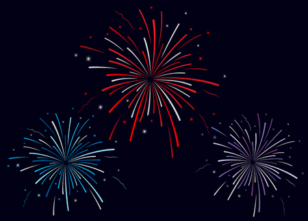festival moments: Vector illustration of fireworks on dark blue background