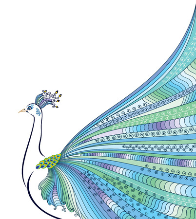 Abstract stylized peacock greeting card. Invitation. Vector illustration