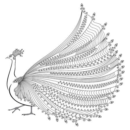 Vector illustration von stilisierten abstrakte Pfau auf weißem Hintergrund Standard-Bild - 49972598