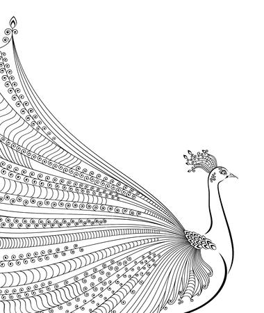 Ilustración De Pavo Real Estilizado Abstracto Con La Cola Luxuus En ...