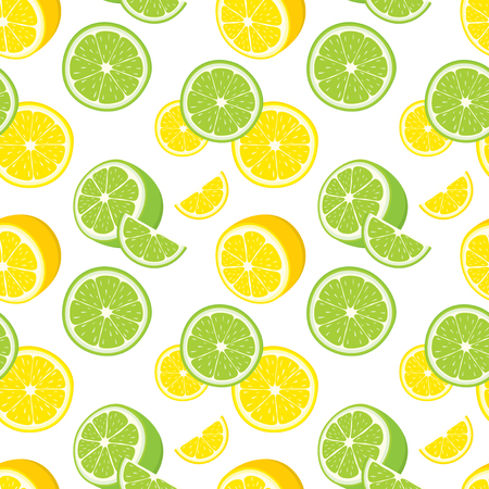 slices: Vector seamless background of lemon and lime slices.