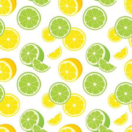 lemons: Vector seamless background of lemon and lime slices.
