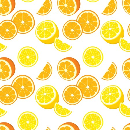 lemon lime: Vector seamless background with orange and lemon slices. Illustration