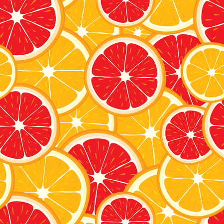 grapefruit: Vector seamless background of orange and grapefruit slices. Illustration