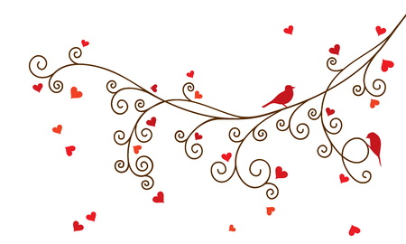 romantic couple: Vector illustration of curl abstract Valentine tree branch with red hearts.
