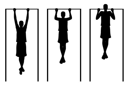 muscle boy: Man doing pull ups. Vector illustration. White background.