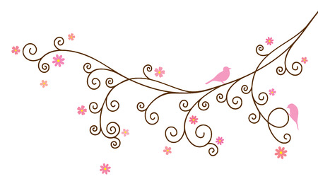 birds on branch: Vector illustration of curly blossom tree branch and two birds on white background Illustration