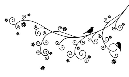 florid: Vector illustration of curly blossom tree branch and two birds on white background. Black color.