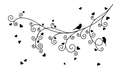 valentine tree: Vector illustration of abstract curly Valentine tree branch with hearts and two birds in black color.