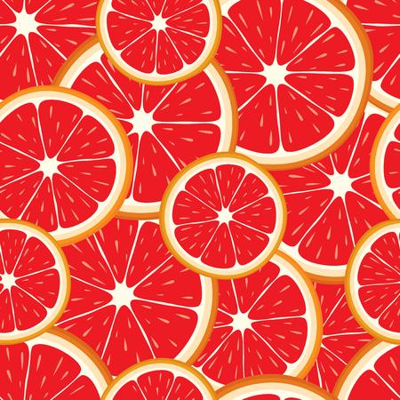 Vector nahtlose Hintergrund der Grapefruit-Scheiben.