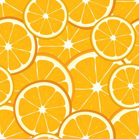 Vector seamless background of orange slices. Illustration