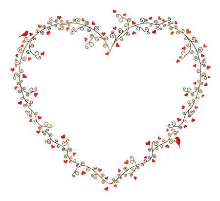unusual valentine: Valentines day vector frame for text, composition of curly tree branches with many hearts and two birds on white background.