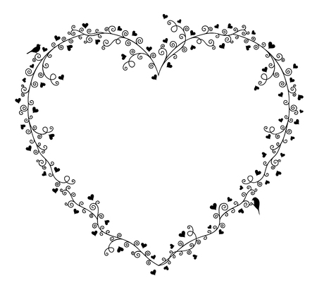 two birds: Valentines day vector frame for text, composition of curly tree branches with many hearts and two birds on white background.