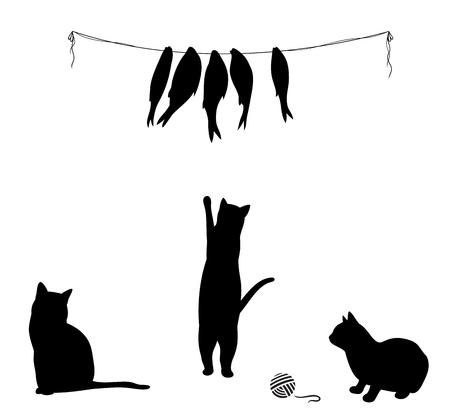Katze klettert auf getrockneter Fisch, drei Katze Silhouetten. Vektor-Illustration. Standard-Bild - 50254914