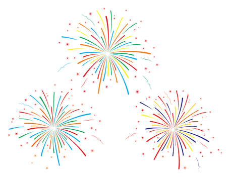 The illustration of colorful fireworks on white background