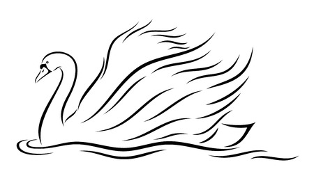 opulent: illustration of abstract, stylized swan on white background. Illustration