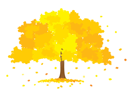 gold tree: Vector illustration of lush gold tree on white background