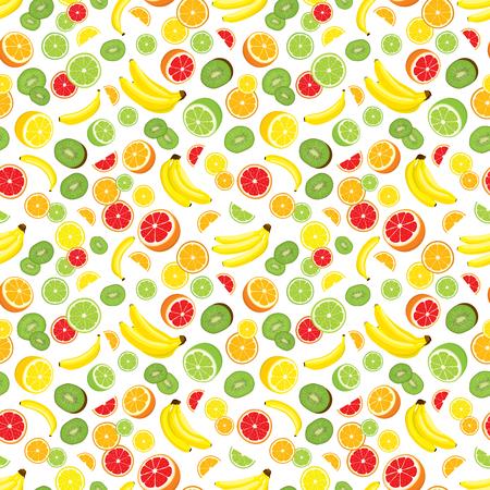 multivitamin: seamless background of lemon, orange, lime, grapefruit, kiwi slices and bananas. Multivitamin fruits. White background. Illustration