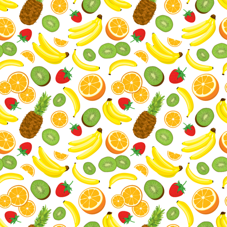 multivitamin: Multivitamin seamless background with whole pineapple, fresh green kiwi slices, strawberries, oranges and bananas. illustration on white background