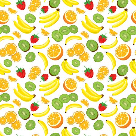 multivitamin: Multivitamin seamless background with fresh yellow bananas, kiwi, oranges and strawberries. illustration on white background