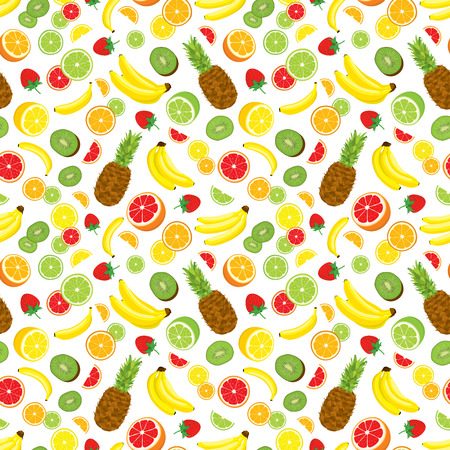 multivitamin: Multivitamin seamless background with whole pineapple, fresh green kiwi slices, strawberries, citrus fruits and bananas. illustration on white background