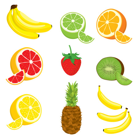 multivitamin: set of multivitamin fruits: lemon, orange, lime, grapefruit, kiwi, banana, pineapple, strawberry on white background. Isolated.