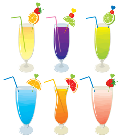 multivitamin: set of different fruit, alcohol layered cocktails and different fruit milk shakes. illustration on white background. Isolated.