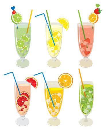 alcoholic drink: set of fresh, fruit, alcoholic drink. Mojito cocktails with lemon, lime, orange, grapefruit and kiwi, isolated on white background. Illustration