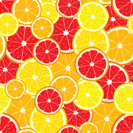 grapefruit: seamless background of lemon, orange, grapefruit slices.