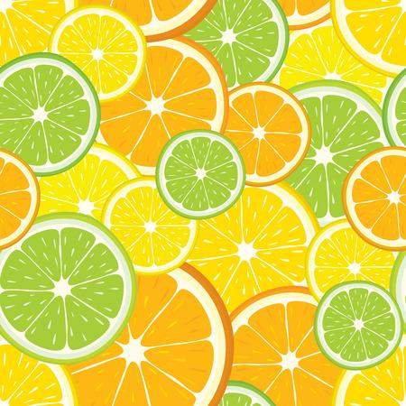 multivitamin: seamless background with lemon, orange, lime slices. Illustration