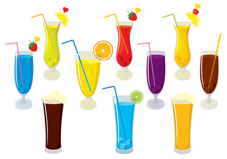 multivitamin: set of isolated colorful, fresh, fruit juices, alcohol cocktails, beer and cola. illustration on white background.