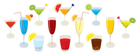 mixed drink: Vector collection of isolated, colorful alcohol cocktails and drinks. Vector illustration on white background.