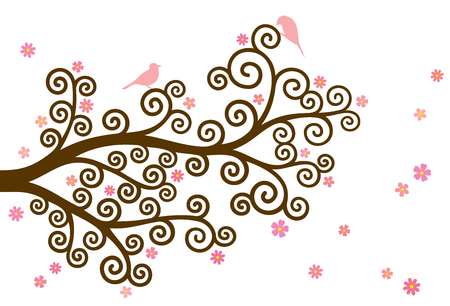 two birds: Vector illustration of curly blossom, colorful tree branch and two birds on white background.