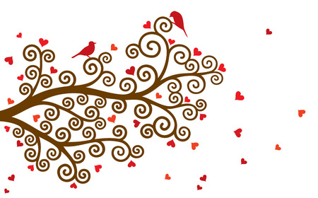 valentine tree: Vector illustration of curl abstract Valentine tree branch with red hearts on white background. Illustration