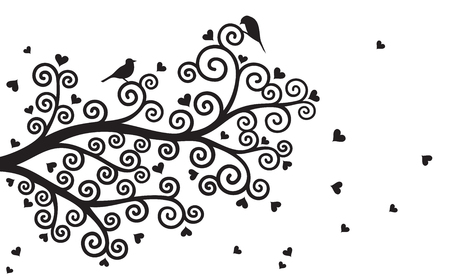 valentine tree: Vector illustration of curl, abstract, stylized Valentine tree branch with hearts in black color on white background.
