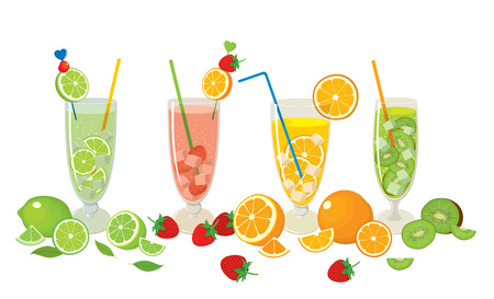 rum: Vector collection of fresh citrus products - orange, lime with fruits - strawberry, kiwi and with Mojito cocktails, isolated on white background. Colorful illustration for design. Illustration