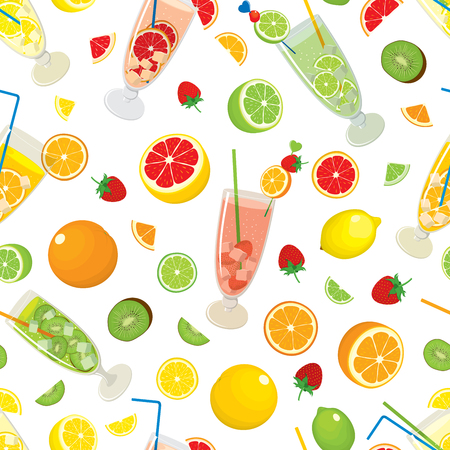 multivitamin: Seamless pattern with citrus products - orange, lemon, lime, grapefruit, fruits - strawberry, kiwi and with Mojito cocktails. Vector colorful illustration on white background.