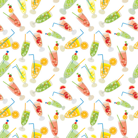multivitamin: Vector seamless pattern of fresh, fruity Mojito cocktails with lemon, lime, orange, grapefruit, strawberry and kiwi in color on white background.
