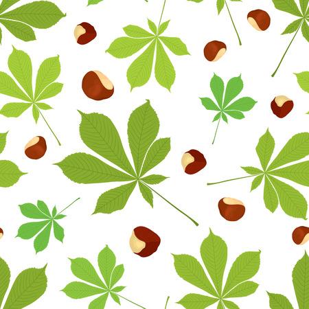 Modelo inconsútil del vector de hojas de castaño y frutos secos de color sobre fondo blanco. Diseño de la cubierta.