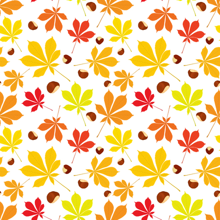 buckeye tree: Autumn seamless pattern of chestnut leaves and nuts on white background. Cover design. Colorful vector illustration.