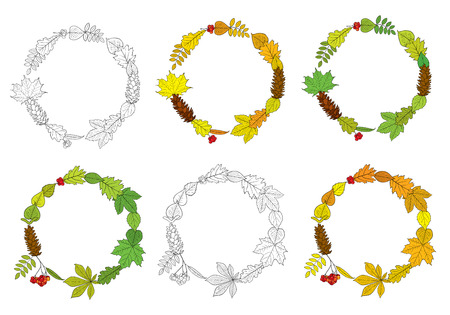pine wreaths: Vector set of round, outline wreaths, compositions of different autumn and summer tree leaves, Rowan berry bunches, acorns, chestnuts and pine cones, isolated on white background. Frames for design.