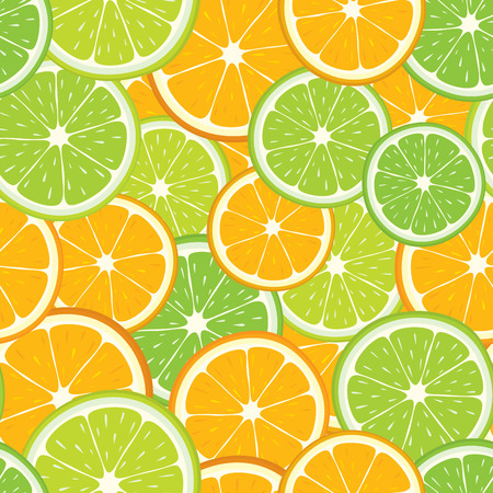 Vector seamless background of citrus fruits: lime and orange slices. Illustration
