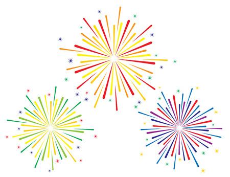 Vector illustration of colorful fireworks set on white background
