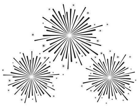 Vector illustration of fireworks set in black color on white background Ilustração