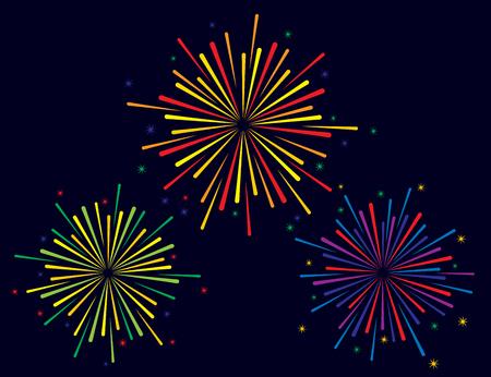 descriptive: Vector illustration of colorful fireworks set on blue background