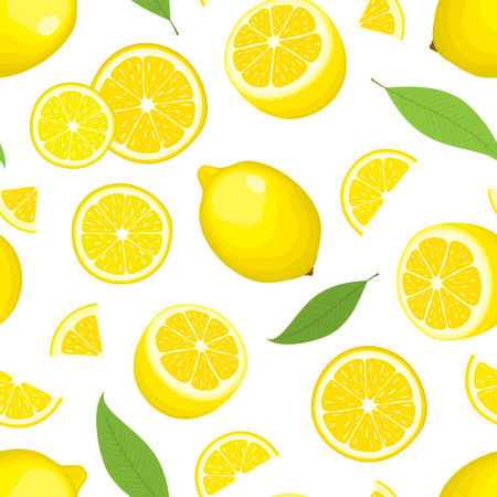 Vector seamless background of citrus product - lemon with leaves on white background. Whole fruits and slices. Cover design.